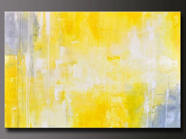 Yellow and Gray Abstract Wall Art