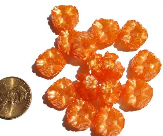 Vintage W. German - Orange Lucite Beads Ring of Flowers - MI421 - PHershbeVintage