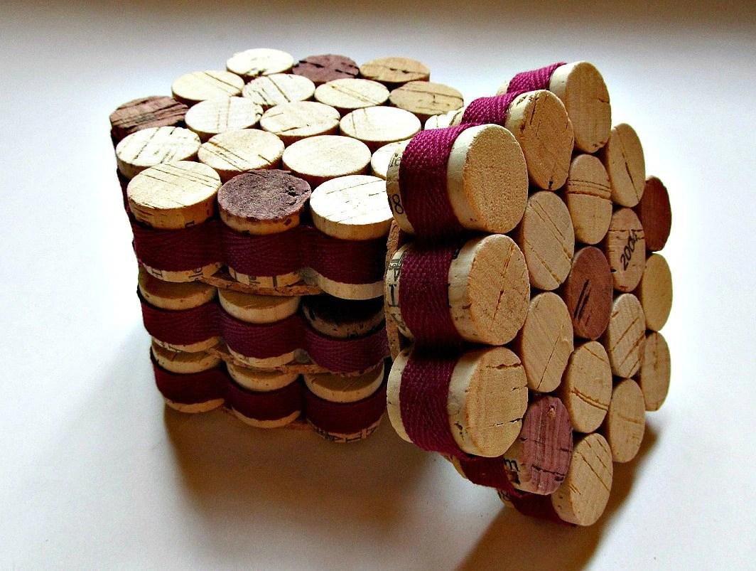 Honeycomb Wine Cork Coasters With Burgundy Ribbon Set Of