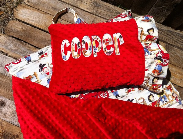 Personalized Nap Mat Cover With Attached Minky Blanket