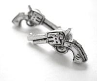 Revolver Gun Earrings Sterling Silver Western Jewelry