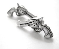 Revolver Gun Earrings Sterling Silver Western Jewelry