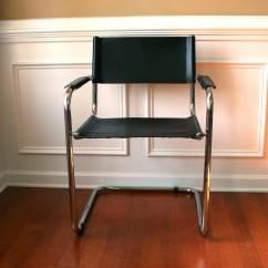 Leather Chrome Chair Student Desk Mid Century Modern Italian Tubular