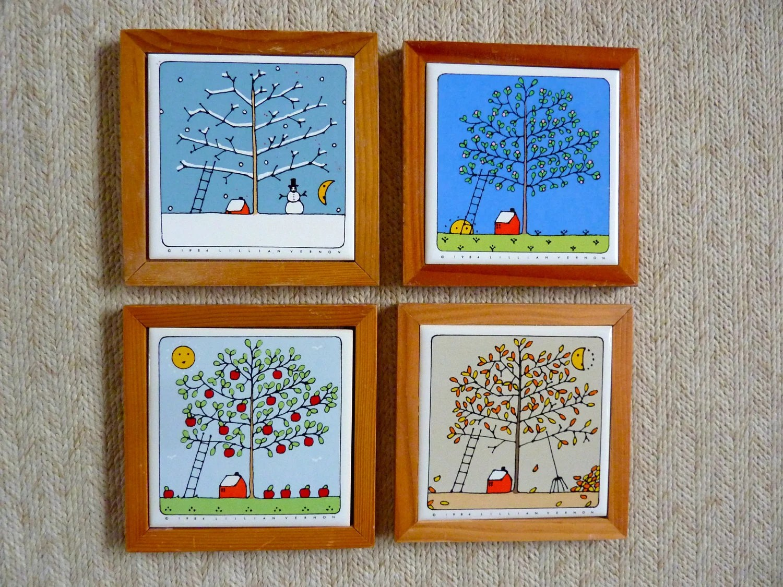 4 Seasons Apple Tree Tiles Framed Wall Decor