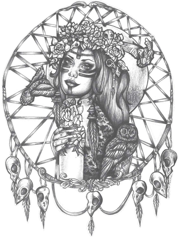 Native American Indian Girl In Skull Dreamcatcher Print Bird