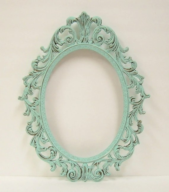 Shabby Chic Frames Mint Green Oval Picture Frame Vintage Baroque Wedding Home Decor