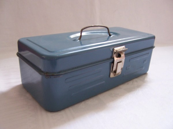 Small Vintage Blue Metal Tool Box Industrial Chic
