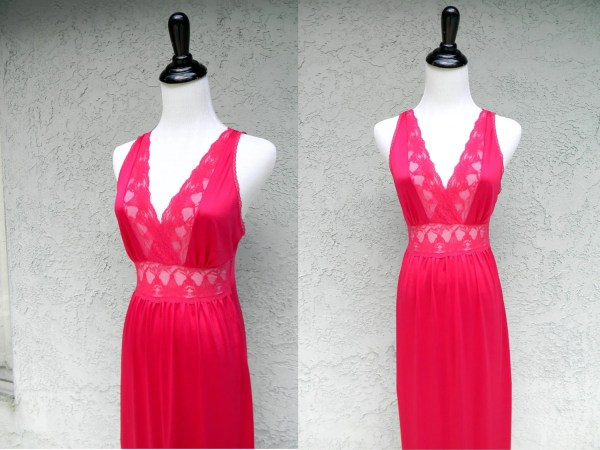 Vintage 80s Nightgown Lingerie Sexy Sleepwear Hot Pink