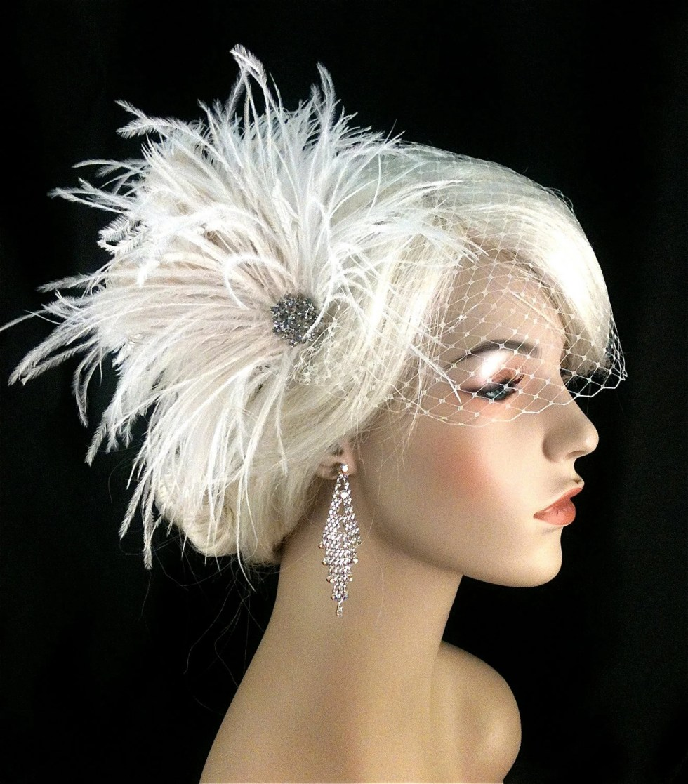 Bridal Feather Hair Clip, Bridal Fascinator, Bridal Headpiece, Bridal Hair Accessories, Wedding Hair Accessories, Bridal Veil, Wedding Veil