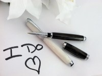 Bride and Groom Wedding Pen Set Hand-Crafted White and Black