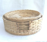Rattan Paper Plate Holders and Basket Set of Eight