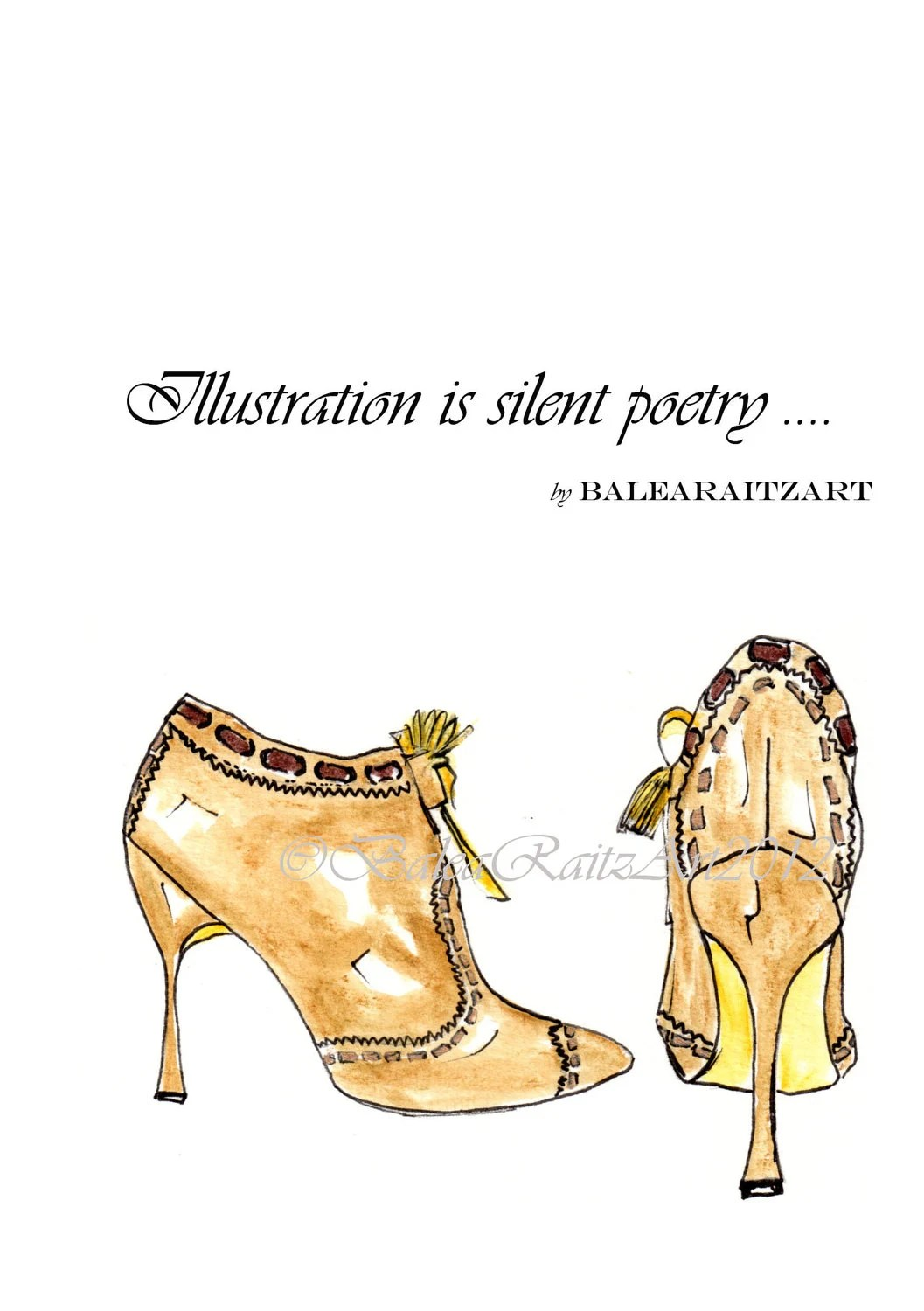 Manolo Blahnik High Heels Print from my original illustration - BaleaRaitzART