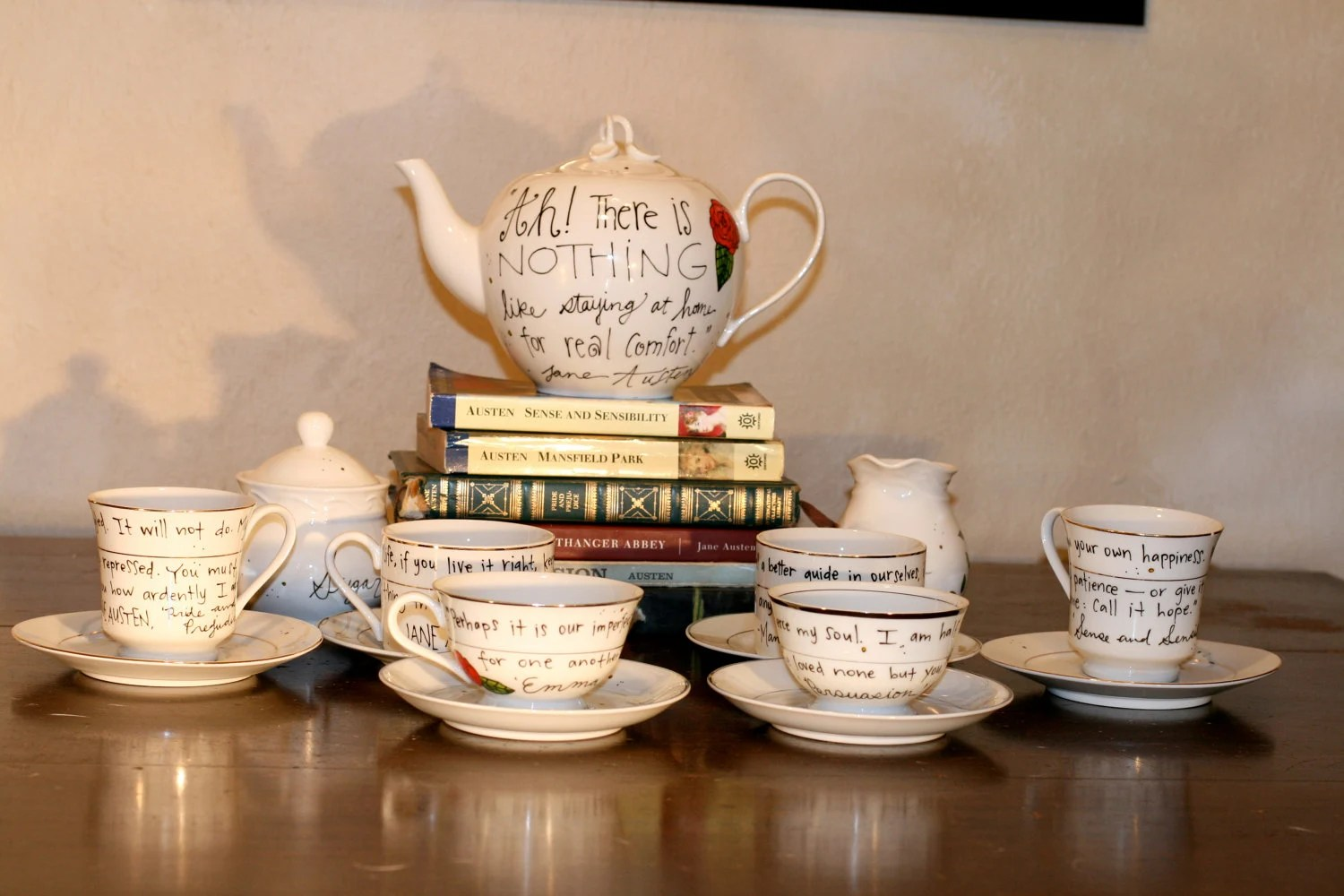 Jane Austen Tea Set - Hand painted, white teapot with vintage cups and saucers - Literary Quotes from all six Austen books