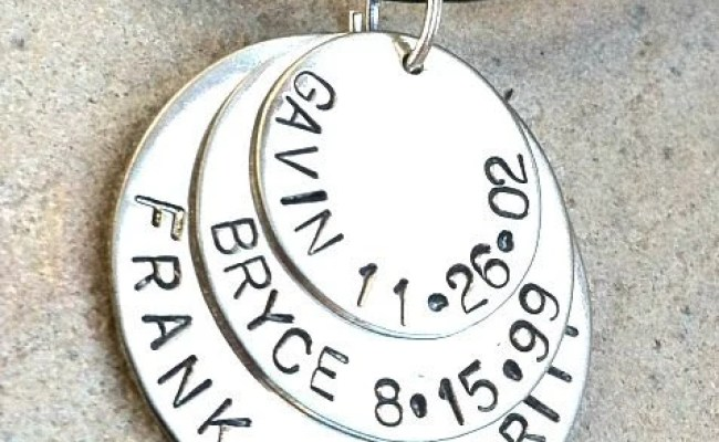 Mens Necklace Personalalized Hand Stamped For Men Mens