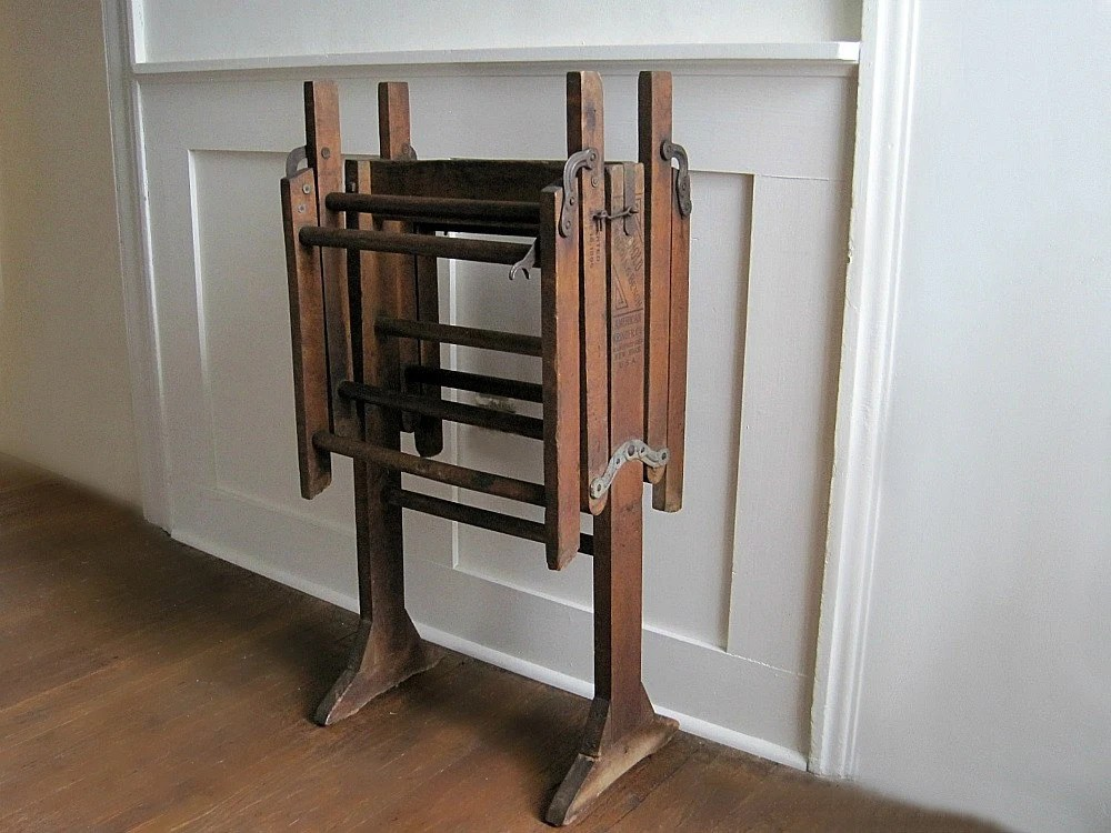 Antique Wooden Folding Bench Vintage by GoldenDaysAntiques