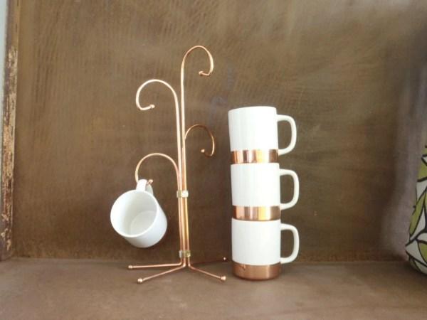 Mug Tree Bohemian Vintage Copper Clad Coffee Mug Set
