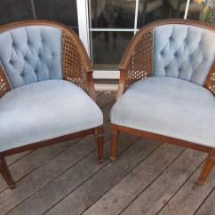 Cane Barrel Chair Chairs Made Out Of Pallet Wood Pair Vintage Arm Tufted Back Reserved