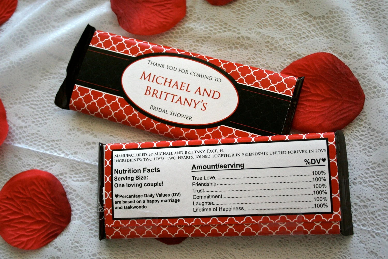 Items similar to Quatrefoil Chocolate Bar Wrapper red