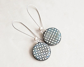 Black white polka dot earrings - Round dangle black earrings - Polka dot jewelry - Lepun