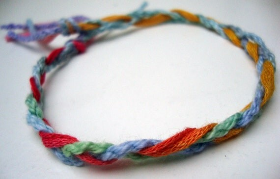 Braided Thread Friendship Bracelet or Anklet - Pastel colors blue, green, violet, yellow, pink - Large