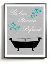 Bathroom Art Print Bath tub artwork Poster Gray and black