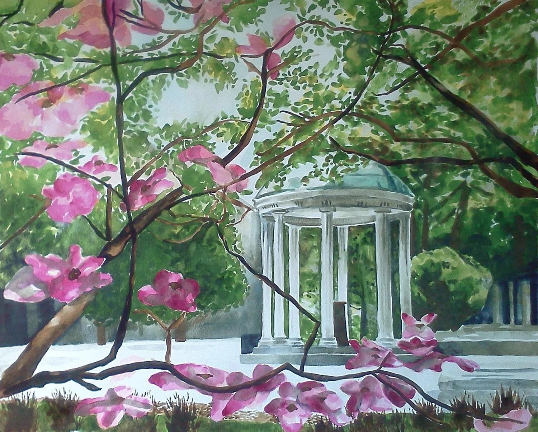 Old Well Chapel Hill Unc University Original Watercolor