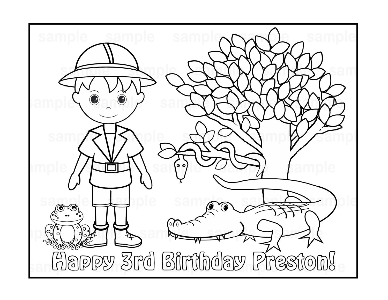 Personalized Printable Safari Jungle Girl Boy Birthday