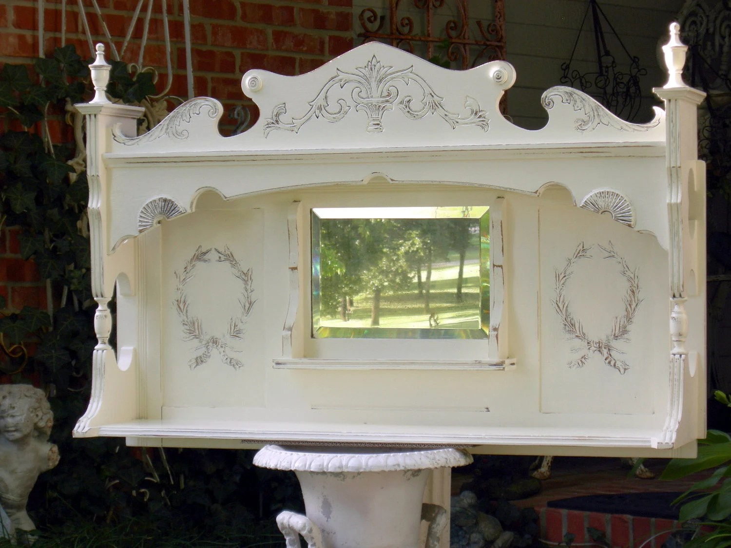 On SALE Antique MANTLE MIRROR Shelf in Shabby Chic