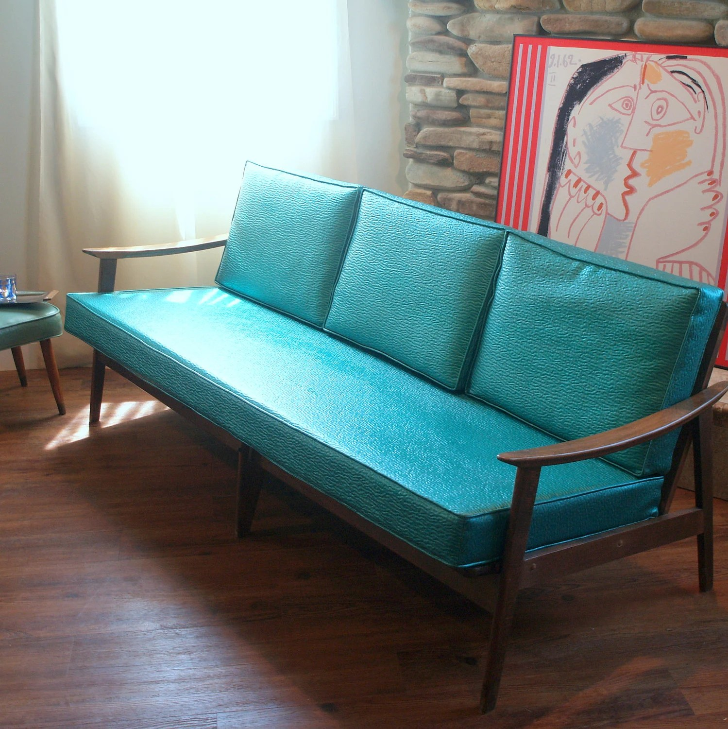 sofa arm tray wood liquidation cuir montreal vintage danish modern lovely 1950's mid by ...