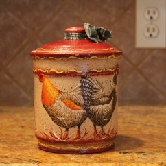 Rooster Statue For Kitchen Renovation Costs Nj Canister Glass Decor Storage