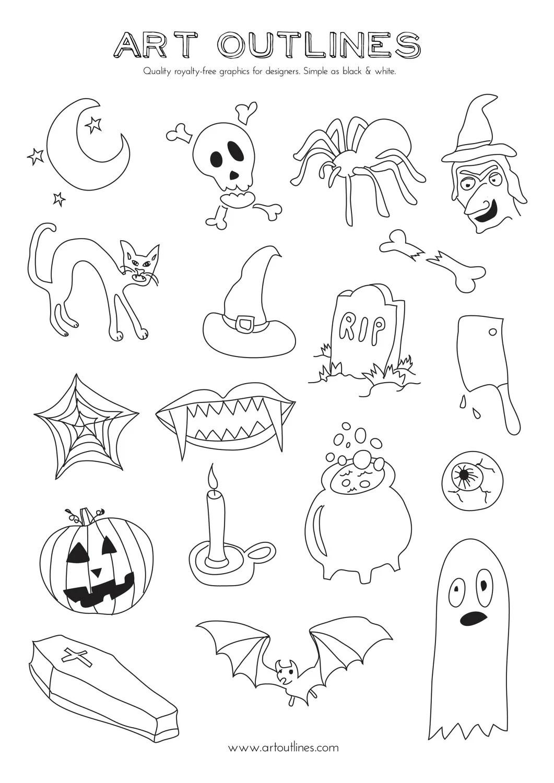 Set of Halloween Illustrations 18 Original Hand Drawn