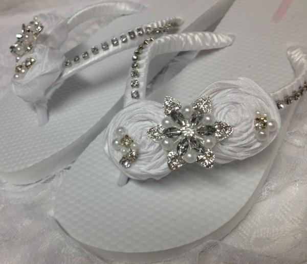 White Wedding Flip Flops