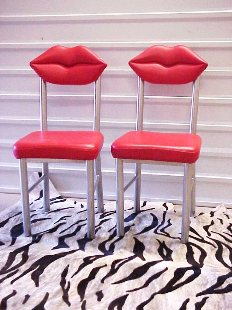 Marilyn Red Lips Chairs Pair Studio 65 Dali by DallasModern