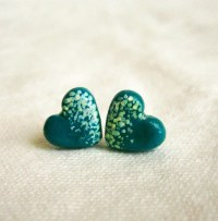 Items similar to Emerald Green stud earrings, polymer clay ...