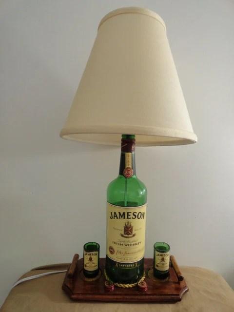 Recycled Jameson Whiskey Liquor Bottle Desk Lamp w Magnetic
