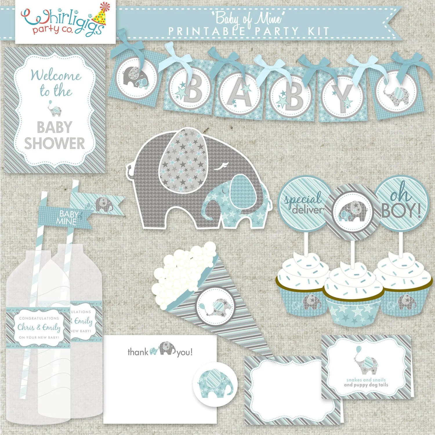 Boy Baby Shower Printable Party Baby Of Mine