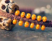 Skeleton Tribal Bracelet w/ Tribal Skulls - Yellow and Orange Beads - SoulMakes