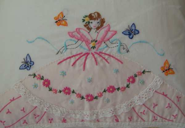 Retro Hand Embroidered Full Size Pillow Cases