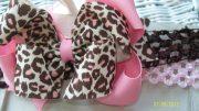 cheetah hair bow.girls
