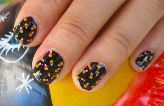 TRICK OR TREAT Candy Corn sprinkling halloween nail decals - chachacovers