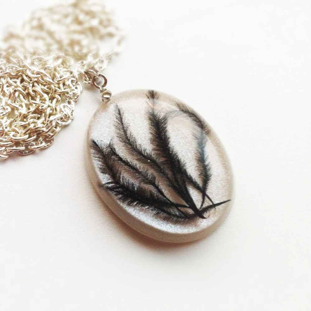 Black Feather Resin Pendant Resin Necklace Nature Inspired Necklace Resin Jewelry Rustic Jewelry Real Bird Feather - lowelowejewelry
