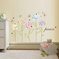 Flower Wall Decal Peace Flowers Decal Vinyl by WallDecalSource