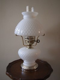 White Hob Nail Milk Glass Hurricane Table Lamp by GracenThings