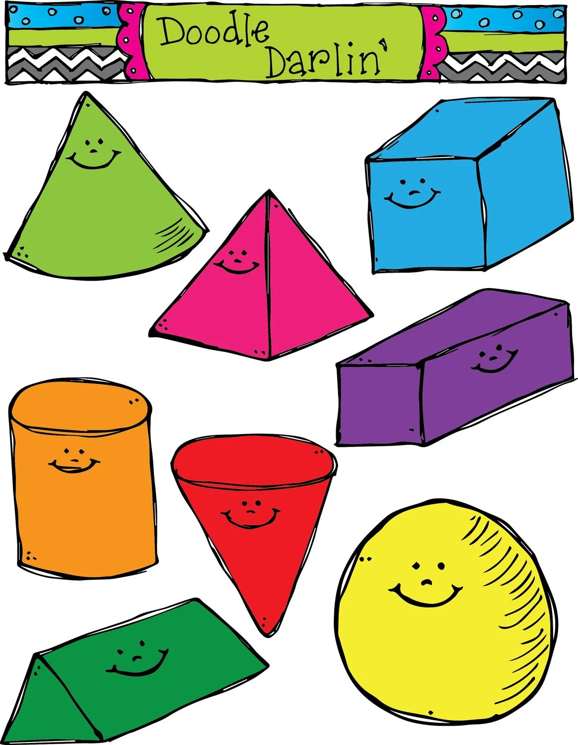3d Smiling Shapes Clipart Set Instant Download By Doodledarlin