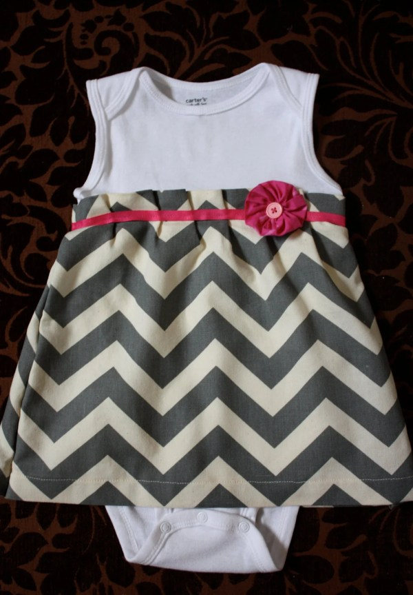 Onesie Dress Chevron Print Newborn 18 Month