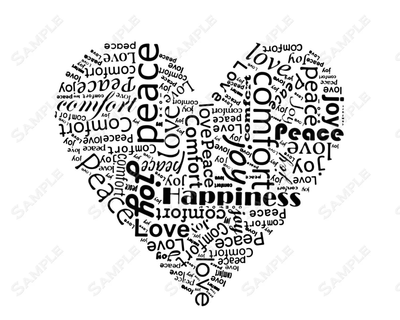 Items similar to Word Art Calligram Heart Print on Etsy