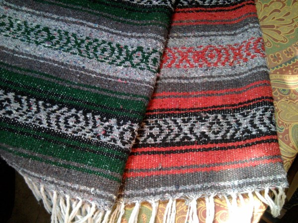 Vintage Mexican Blanket Green Red