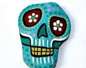 Light Blue - Dia De Los Muertos Skull Paperweight - Hand Painted - TangosCorner