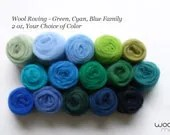 Green, Cyan, Blue Color Family Needle Felting Wool Roving / Wet Felting Wool Roving, 2 oz Your Choice of Color - WooliMochi