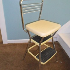 Vintage Cosco Step Stool Chair Wheelchair Accessible Shower Yellow Kitchen With Flip Up